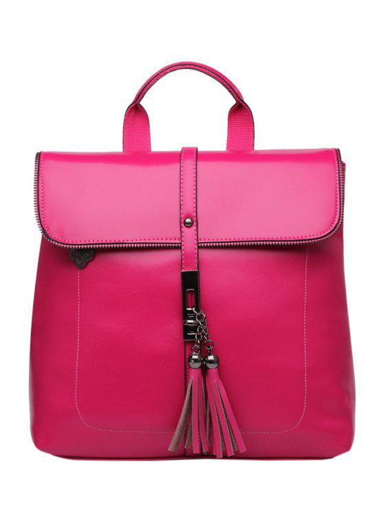 best Tassels Candy Color PU Leather Satchel - ROSE