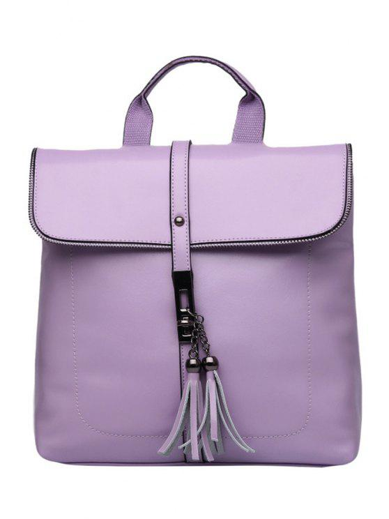 outfit Tassels Candy Color PU Leather Satchel - LIGHT PURPLE