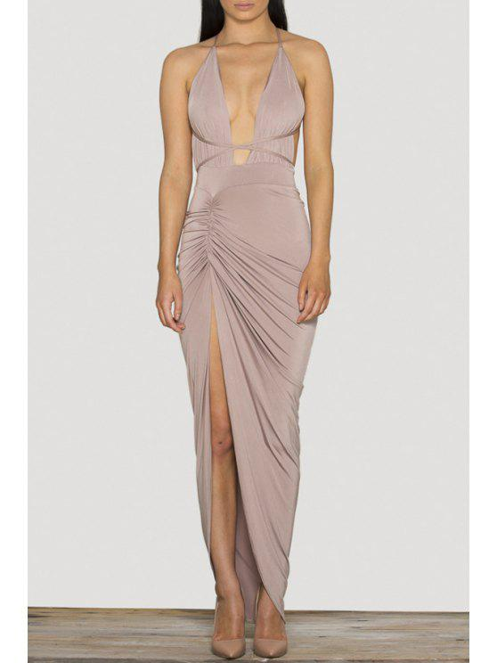 sale Plunging Neck Solid Color High Slit Maxi Dress - OFF-WHITE S