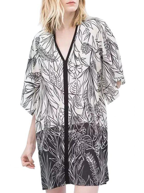 affordable Black White Floral Print Half Sleeve Dress - WHITE AND BLACK S