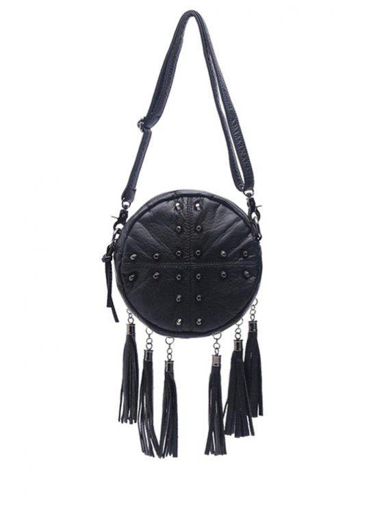 chic Tassels Rivets Solid Color Crossbody Bag - BLACK