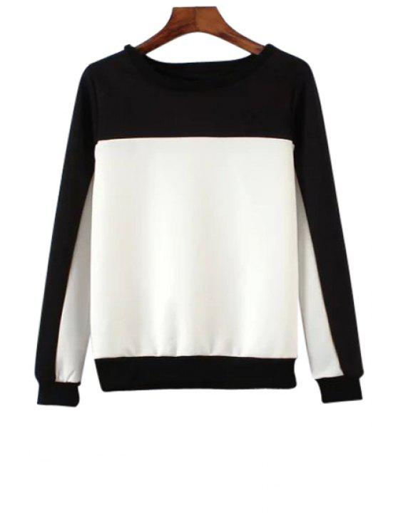shops Black White Splicing Long Sleeve Sweatshirt - WHITE S