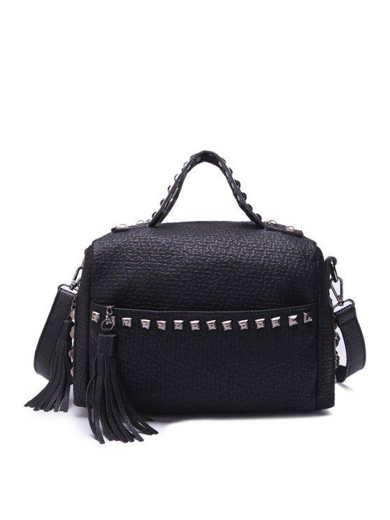 buy Rivets Black Tassels Zipper Tote Bag - BLACK