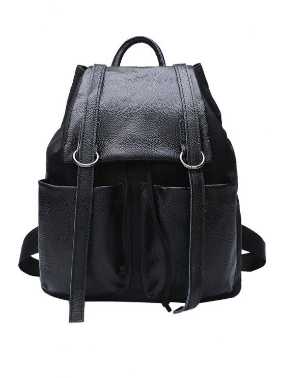 shop Black Belts String Solid Color Satchel - BLACK