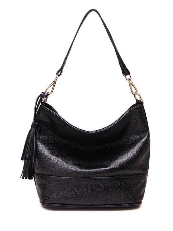 latest Tassels Solid Color Zipper Shoulder Bag - BLACK