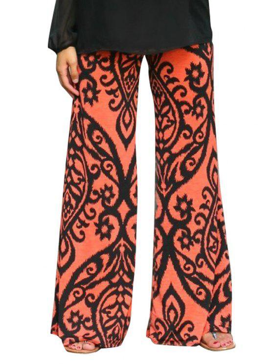 new Wide Leg Floral Print Pants - ORANGE RED S