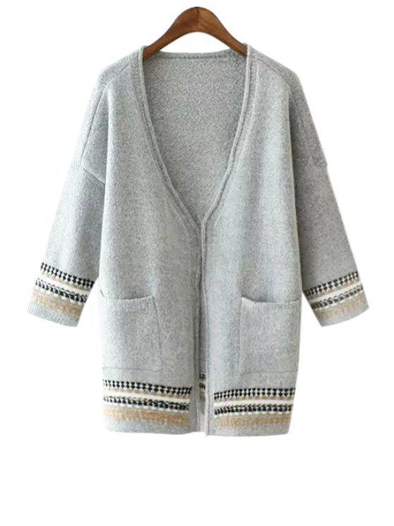 women's Stripe Pocket 3/4 Sleeve Cardigan - GRAY S