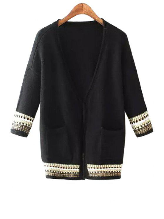 chic Stripe Pocket 3/4 Sleeve Cardigan - BLACK L