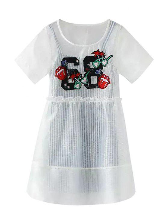 outfit Voile Applique Short Sleeve Dress + Stripe Sleeveless Dress - WHITE S