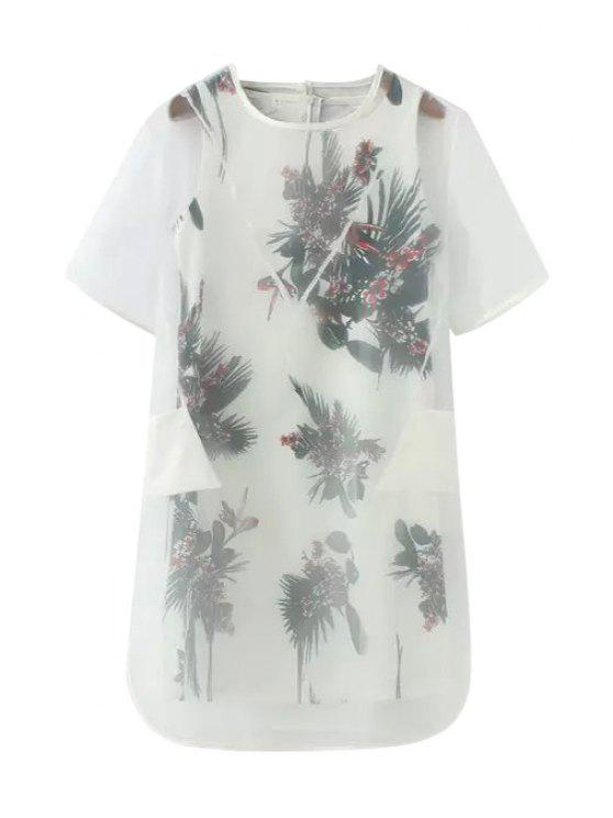 fashion Voile Solid Color Dress + Floral Print Sleeveless Dress - WHITE S