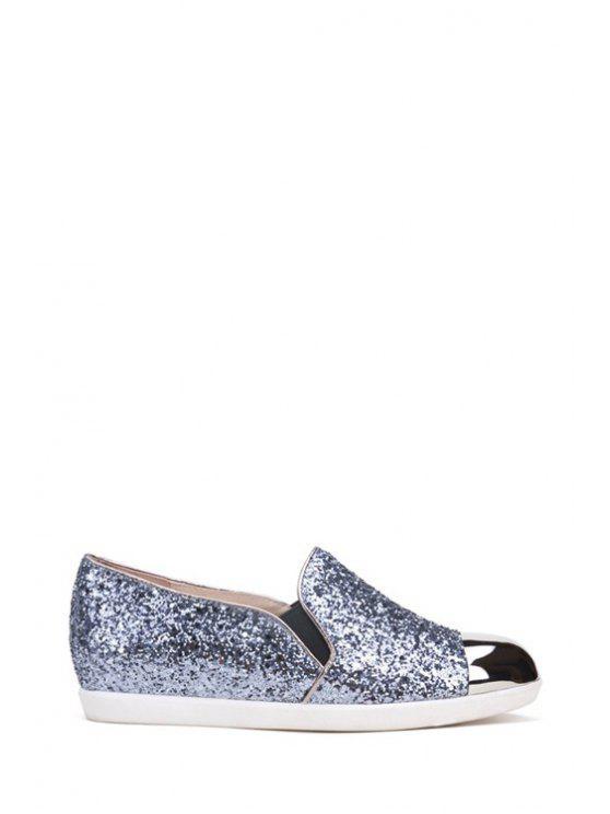 ladies Metal Toe Sequined Elastic Flat Shoes - BLACK 34