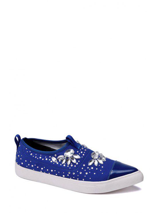 new Rhinestones Pointed Toe Flat Shoes - BLUE 36