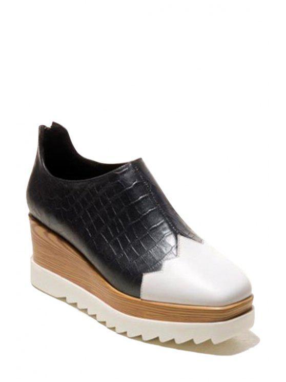latest Square Toe Color Block Platform Shoes - BLACK 35