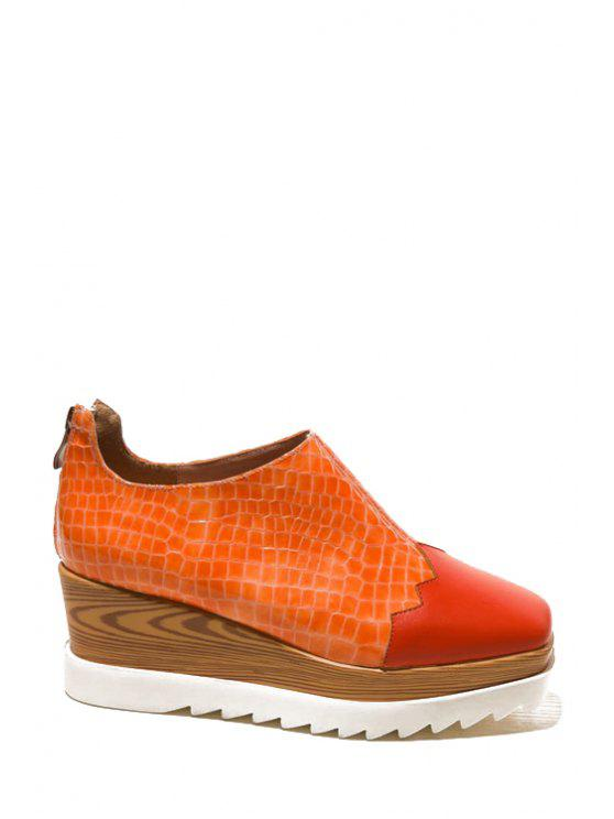 online Square Toe Color Block Platform Shoes - ORANGE 36