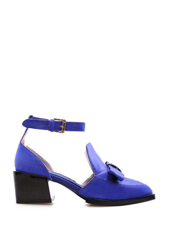 shop Bow Solid Color PU Leather Buckle Pumps - BLUE 34