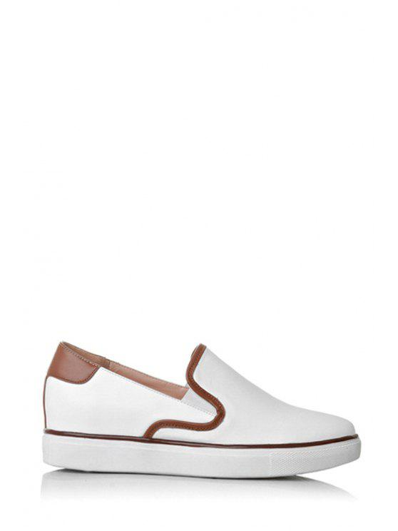 trendy Color Block PU Leather Flat Shoes - LIGHT BROWN 34