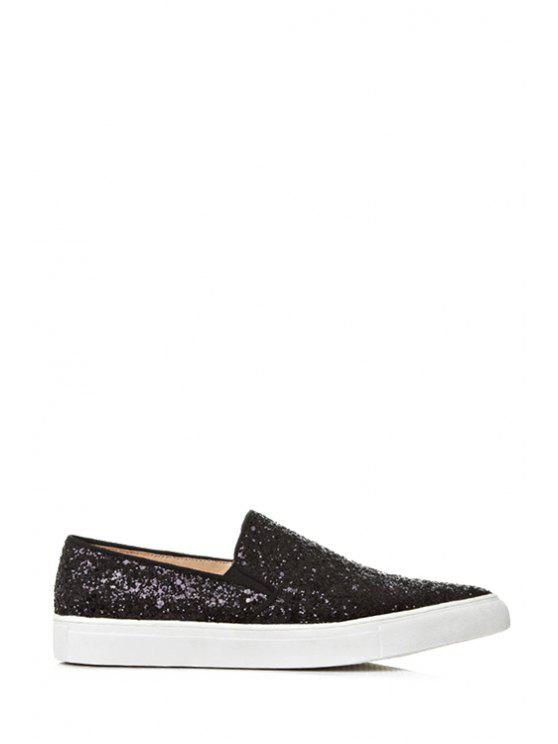trendy Sequined Pointed Toe Flat Shoes - BLACK 34