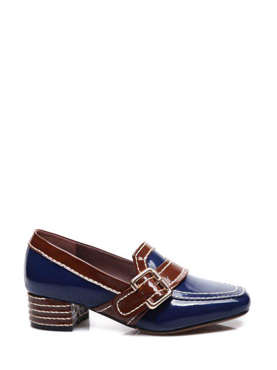 womens Buckle Square Toe Color Block Pumps - BLUE 35