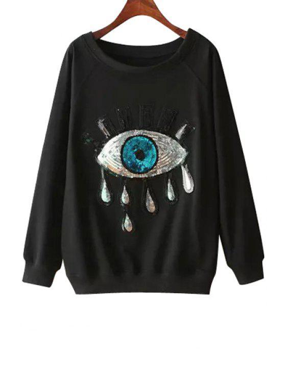 outfit Eye Pattern Sequins Long Sleeve Sweatshirt - BLACK M