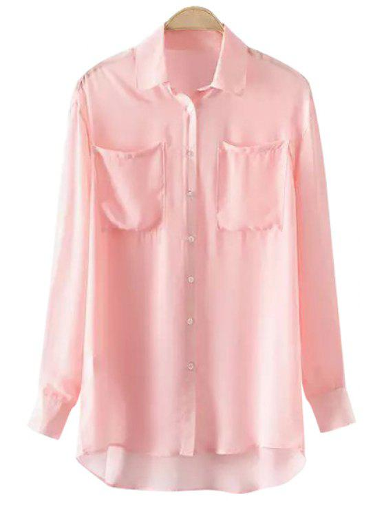 chic See-Through High Low Long Sleeve Shirt - PINK L
