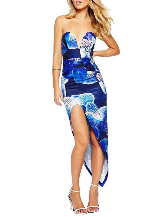 lady Flower Print Strapless Dress - BLUE S