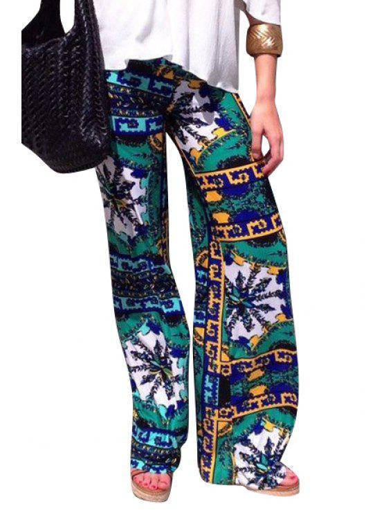 best Ethnic Print Wide Leg Pants - COLORMIX S