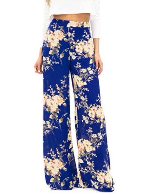 unique Full Floral Wide Leg Exumas Pants - BLUE S