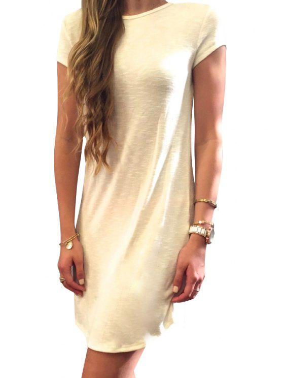 ladies Solid Color Bowknot Embelished Dress - OFF-WHITE S