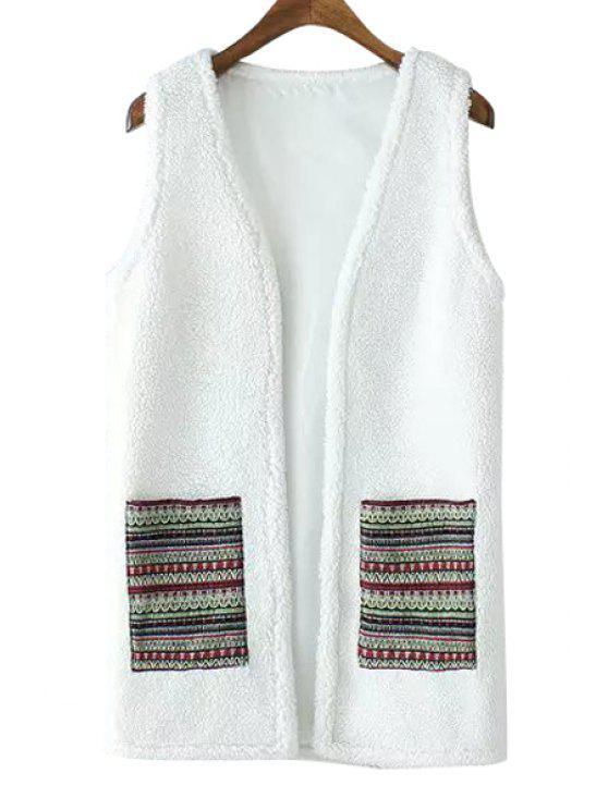 affordable Lamb Wool Pocket Sleeveless Waistcoat - WHITE S