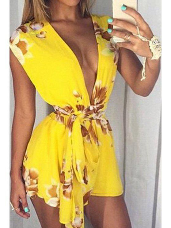new Flower Print Plunging Neck Playsuit - YELLOW S