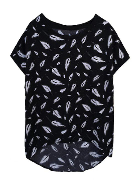 sale Feather Print Loose-Fittting T-Shirt - BLACK XL