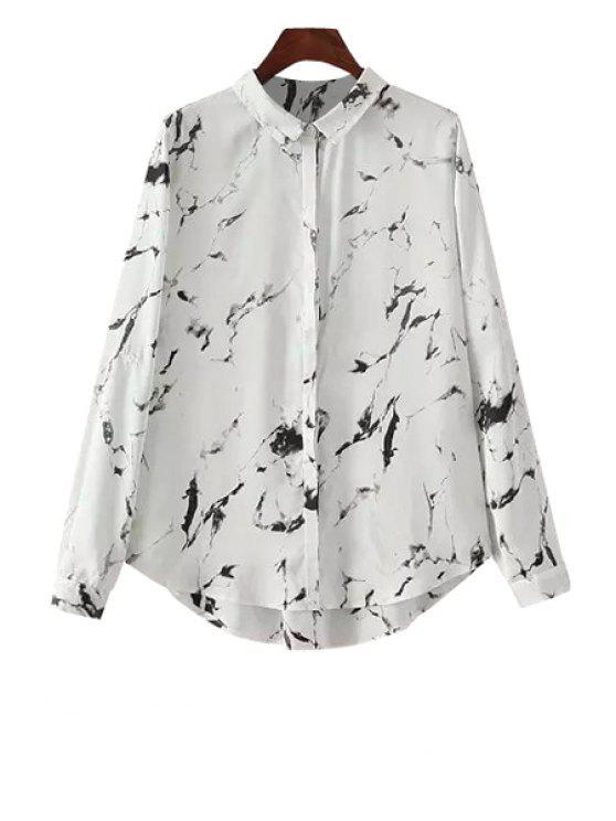 womens Black Ink Print Long Sleeve Shirt - WHITE L