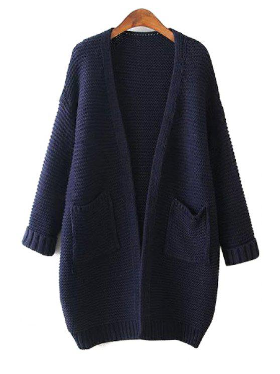 hot Solid Color Pocket Long Sleeve Cardigan - CADETBLUE ONE SIZE(FIT SIZE XS TO M)