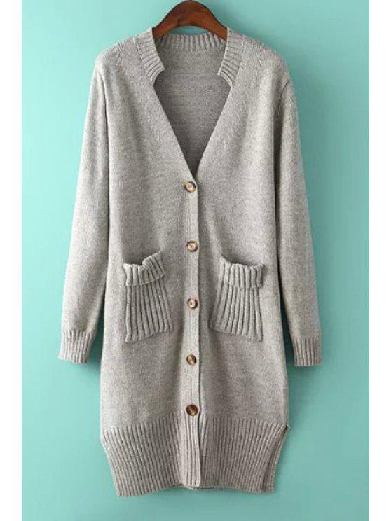 outfit Solid Color Button Fly Long Sleeve Cardigan - GRAY ONE SIZE(FIT SIZE XS TO M)