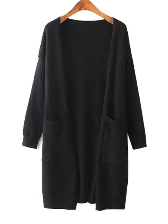fashion Solid Color Two Pocket Collarless Cardigan - BLACK ONE SIZE(FIT SIZE XS TO M)