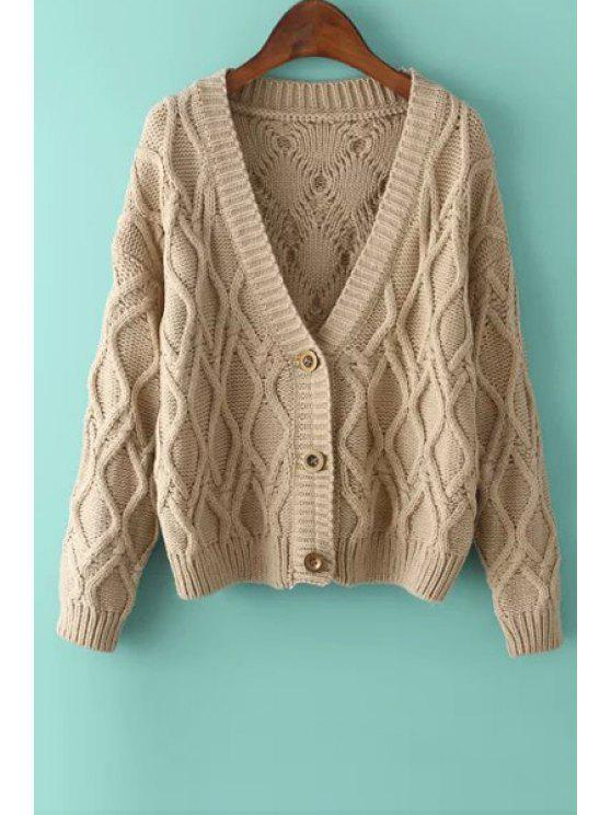 buy Argyle Pattern Three Buttons Long Sleeve Cardigan - KHAKI ONE SIZE(FIT SIZE XS TO M)