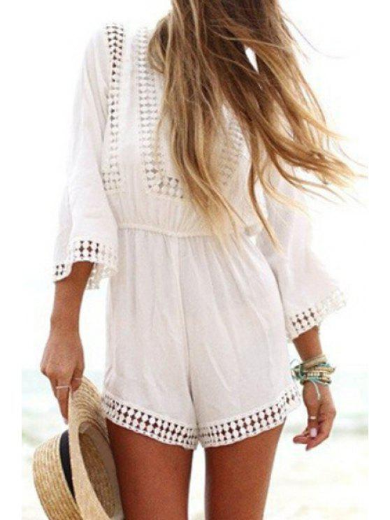 latest Solid Color Openwork 3/4 Sleeve Playsuit - WHITE S