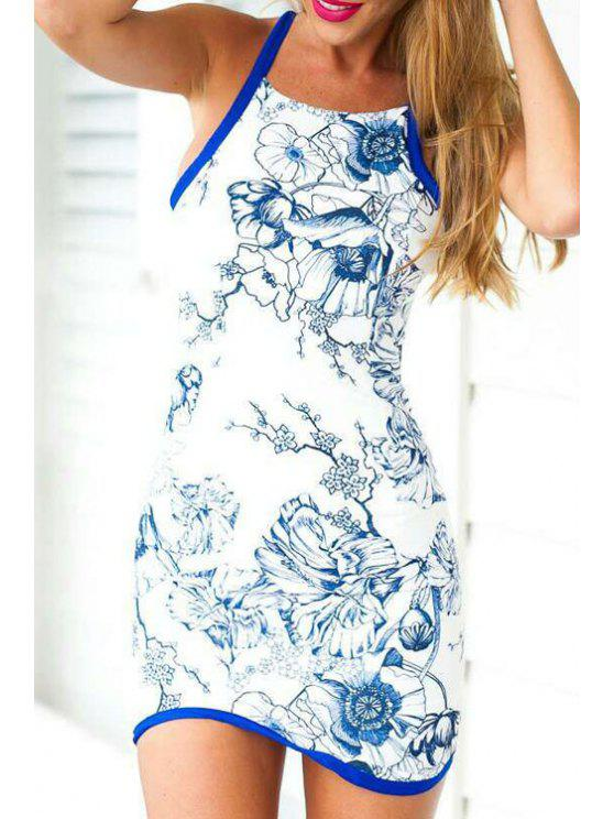 ladies Floral Print Packet Buttocks Blue and White Dress - WHITE S