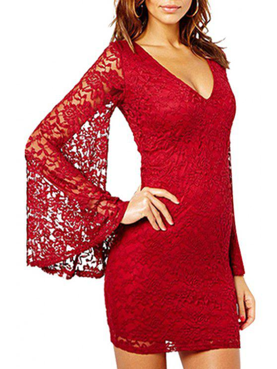 new V Neck See-Through Solid Color Lace Dress - RED S