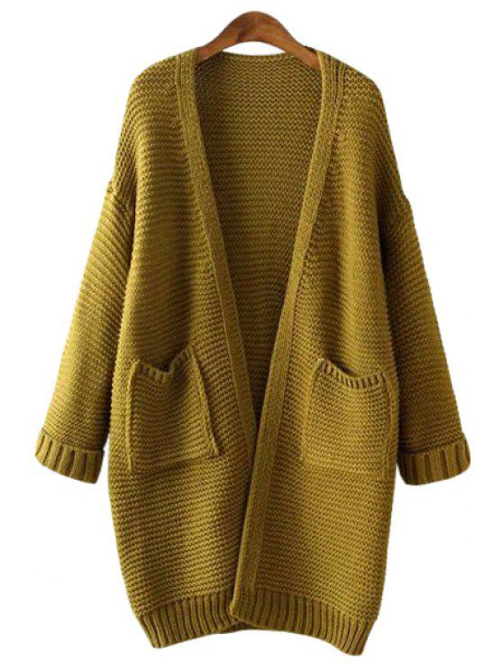 best Long Sleeve Solid Color Cardigan - ARMY GREEN ONE SIZE(FIT SIZE XS TO M)