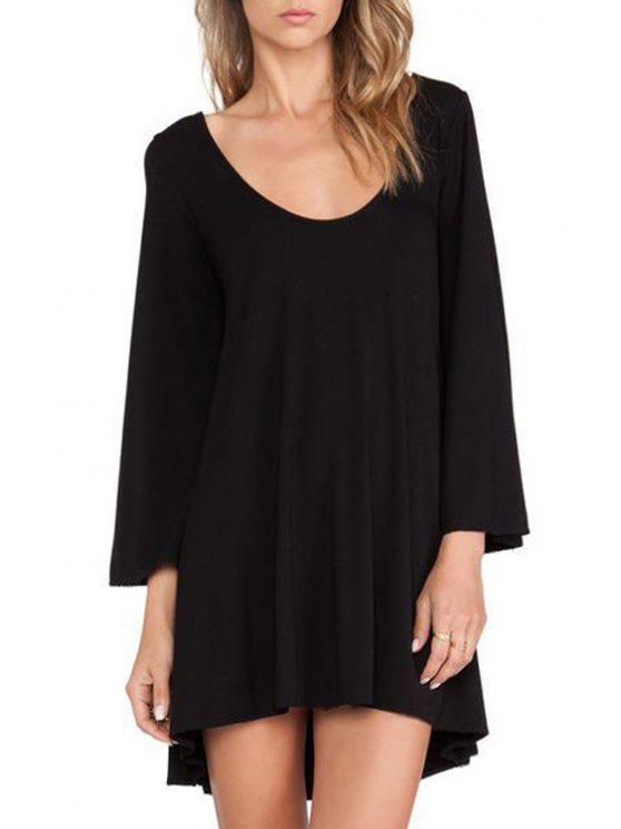 buy Scoop Neck Backless Openwork Long Sleeve Dress - BLACK XS