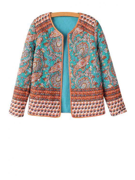 outfit Paisley Print Long Sleeve Coat - TURQUOISE S