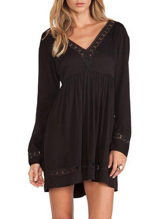 hot Backless Tie-Up Lace Splicing Long Sleeve Dress - BLACK XS