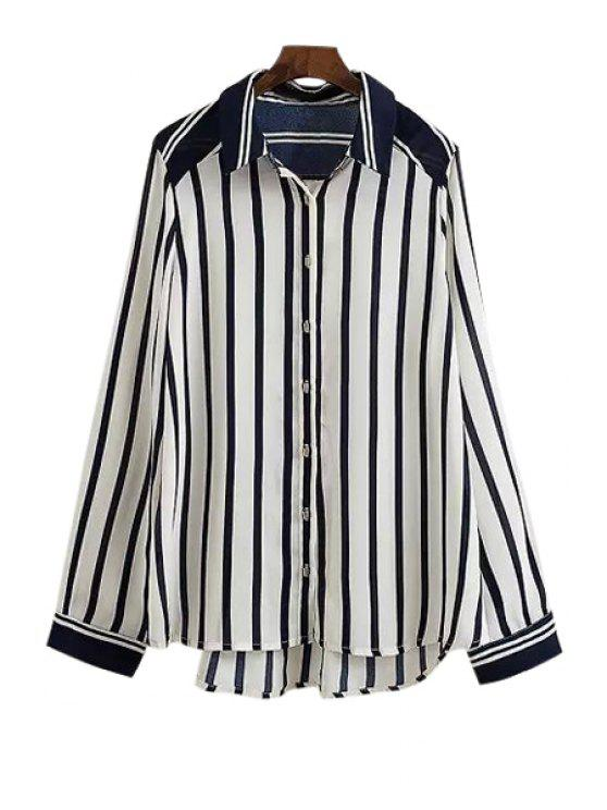 new Stripes High Low Long Sleeve Shirt - AS THE PICTURE S