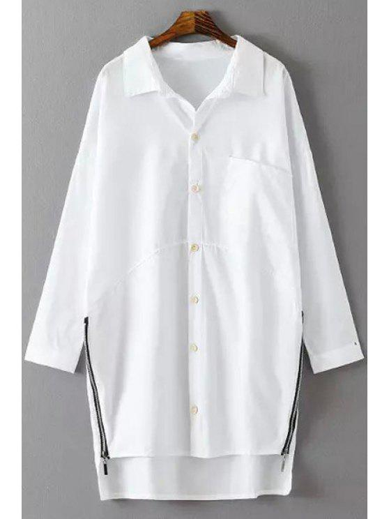 lady Side Zipper Shirt Neck Long Sleeve Shirt - WHITE ONE SIZE(FIT SIZE XS TO M)