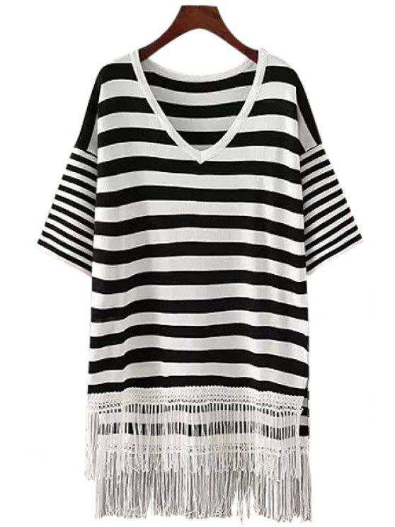 hot White Black Stripe Tassel Splicing Half Sleeve Sweater - WHITE AND BLACK ONE SIZE(FIT SIZE XS TO M)
