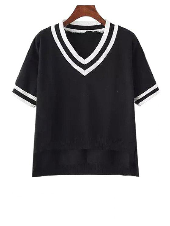 outfits White Black Stripe High Low Short Sleeve Sweater - BLACK ONE SIZE(FIT SIZE XS TO M)
