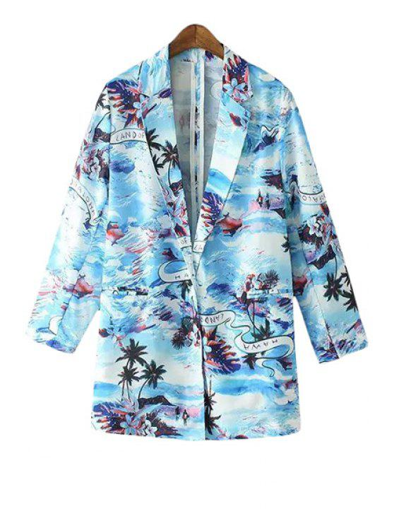 shops Beach Print Lapel Long Sleeve Blazer - BLUE S