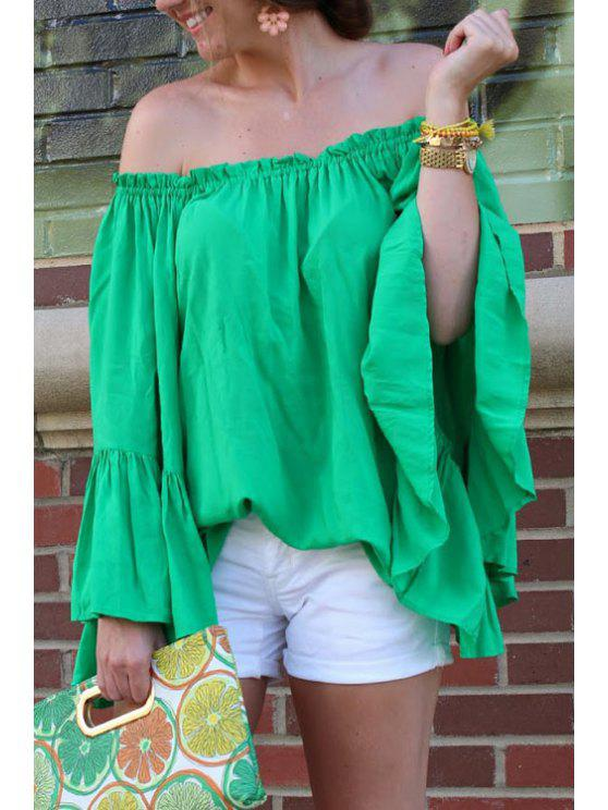latest Green Off-The-Shoulder Blouse - GREEN S