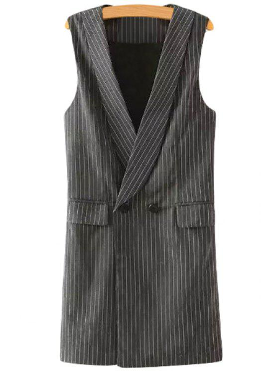 affordable Striped Shawl Collar Waistcoat - GRAY L